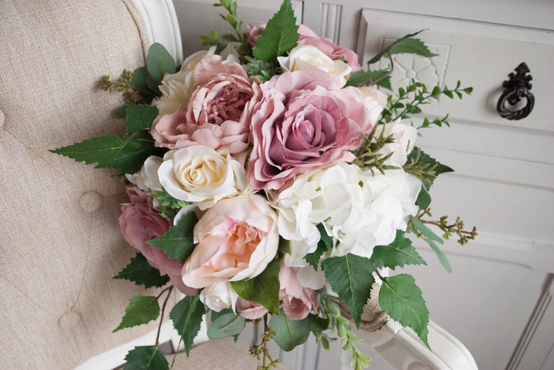Natural dusky pink wedding bouquet. Silk wedding flowers. image 0