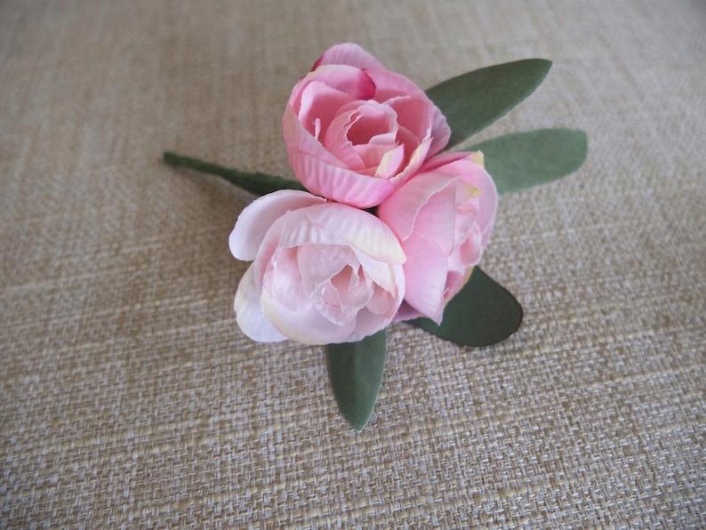 Pink peony buds silk wedding buttonhole / boutonniere.  image 0