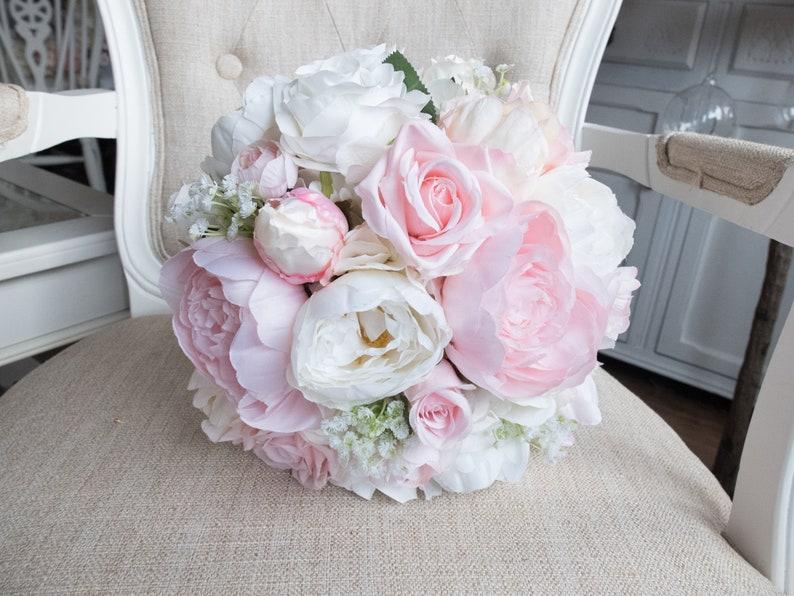 Pale pink peony wedding bouquet. image 0