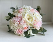 Pale pink and ivory wedding bouquet. Roses, peonies and hydrangea.