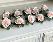 White and blush pink rose and gypsophila silk wedding buttonhole.