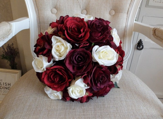 Dark red ivory and burgundy silk flowers wedding bouquet etsy image 0 mightylinksfo