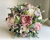Dusky pink, cream and lilac silk wedding bouquet.