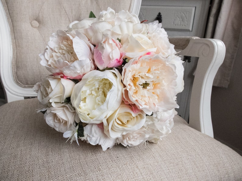 Ivory and pink peony silk wedding bouquet. Rose and peony image 0