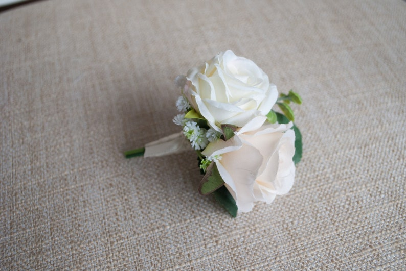 Champagne and ivory silk wedding buttonhole / boutonniere. image 0
