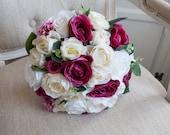 Dark pink, ivory and cream roses silk wedding bouquet