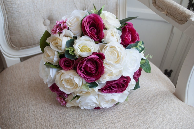 Dark pink ivory and cream roses silk wedding bouquet image 0