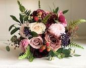 Dusty rose, burgundy and navy blue silk wedding bouquet.
