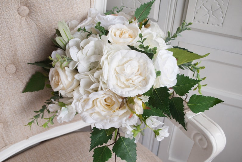 Rustic ivory and white silk wedding bouquet. Natural rose and image 0