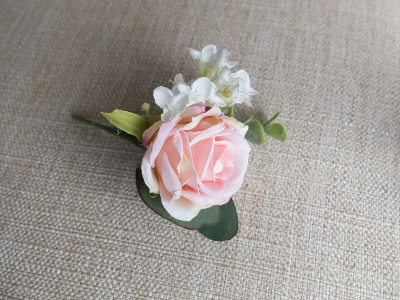Pale pink rose and white lilac silk wedding buttonhole / image 0