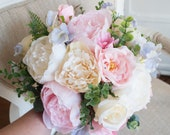 Pink and lilac pastel silk wedding bouquet.