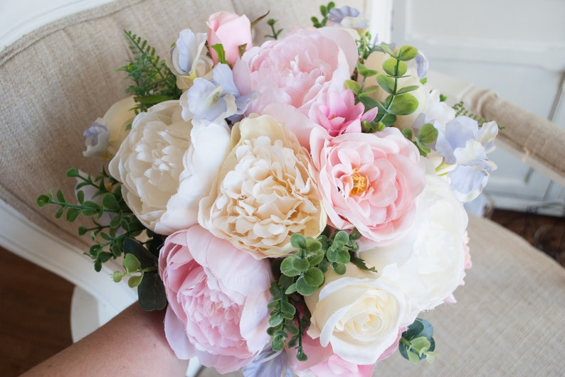 Pink and lilac pastel silk wedding bouquet. image 0