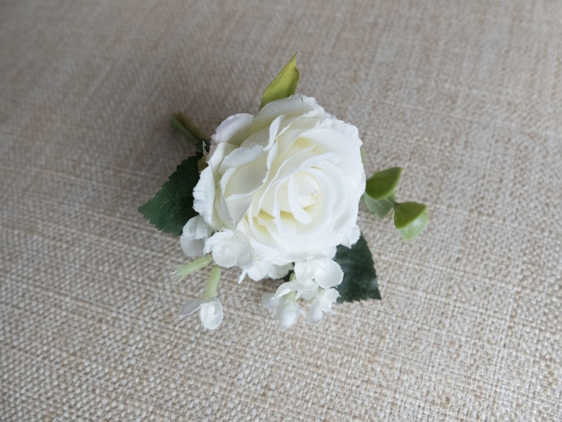 White rose silk wedding buttonhole / boutonniere. image 0