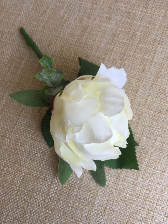 WEDDING FLOWERS SET OF 6 LUXURY DOUBLE BUTTONHOLES IN BABY BLUE AND IVORY
