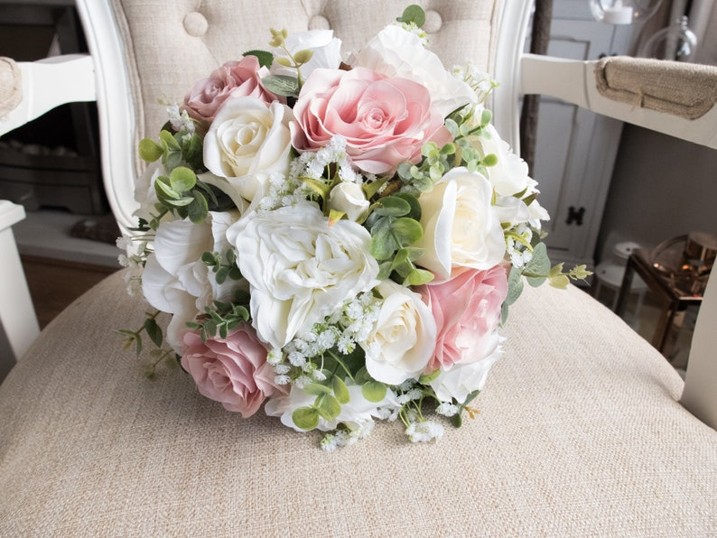 Dusky pink and ivory rose silk wedding bouquet. image 0