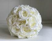 Ivory roses silk wedding bouquet