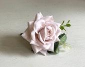 Barely pink rose silk wedding buttonhole.