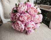 Pink peony wedding bouquet.
