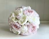 Light dusty pink and white peonies silk wedding bouquet.