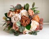 Burnt orange, peach and cream silk wedding bouquet