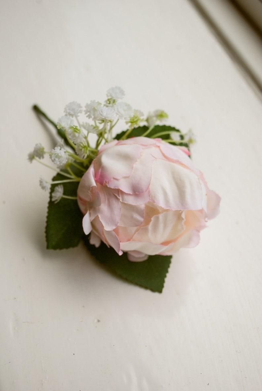 Pink peony silk wedding buttonhole / boutonniere image 0