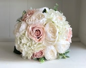 Blush pink roses, white peonies and hydrangea silk wedding bouquet.