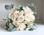 Pale blush roses and eucalyptus silk wedding bouquet.