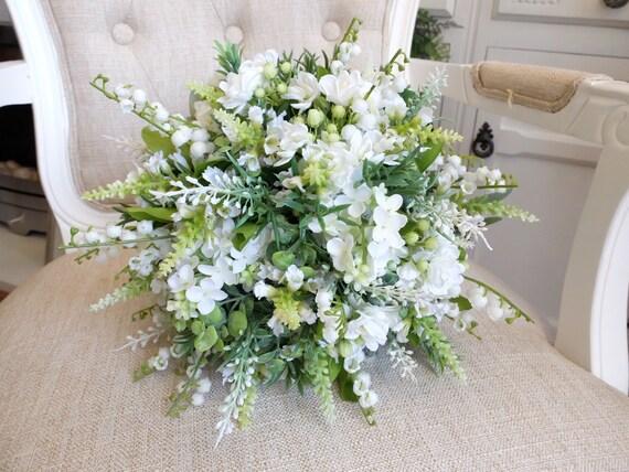 Bouquet Sposa Bianco E Verde.Bouquet Da Sposa Rustico Di Bianco E Verde Etsy