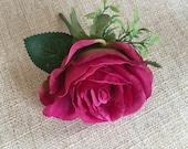 Raspberry pink silk wedding buttonhole / boutonniere.