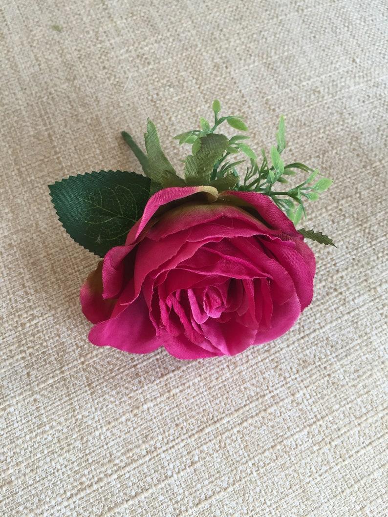 Raspberry pink silk wedding buttonhole / boutonniere.  image 0