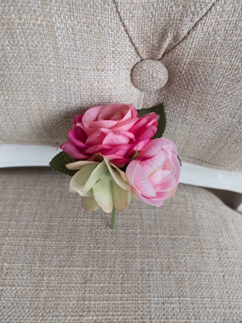 Pink silk wedding buttonhole / boutonniere. image 0