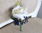 Ivory and navy blue silk wedding buttonhole / boutonniere.