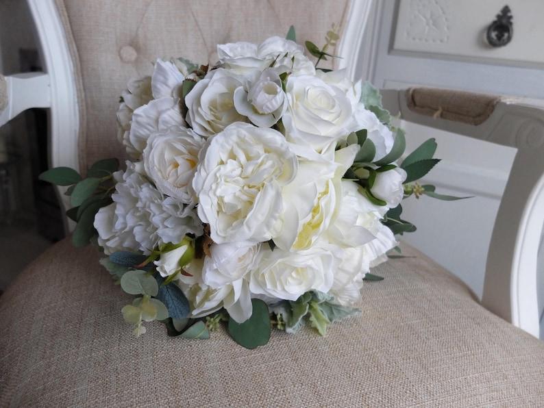 Ivory peony and rose silk wedding bouquet image 0