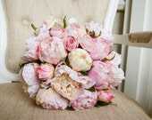 Pink peony silk wedding bouquet. Blush pink and pale pink peony bouquet