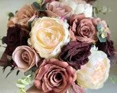 Dusty rose, burgundy and cream silk wedding bouquet.