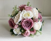 Roses and peonies silk wedding bouquet. Ivory and mauve silk wedding flowers