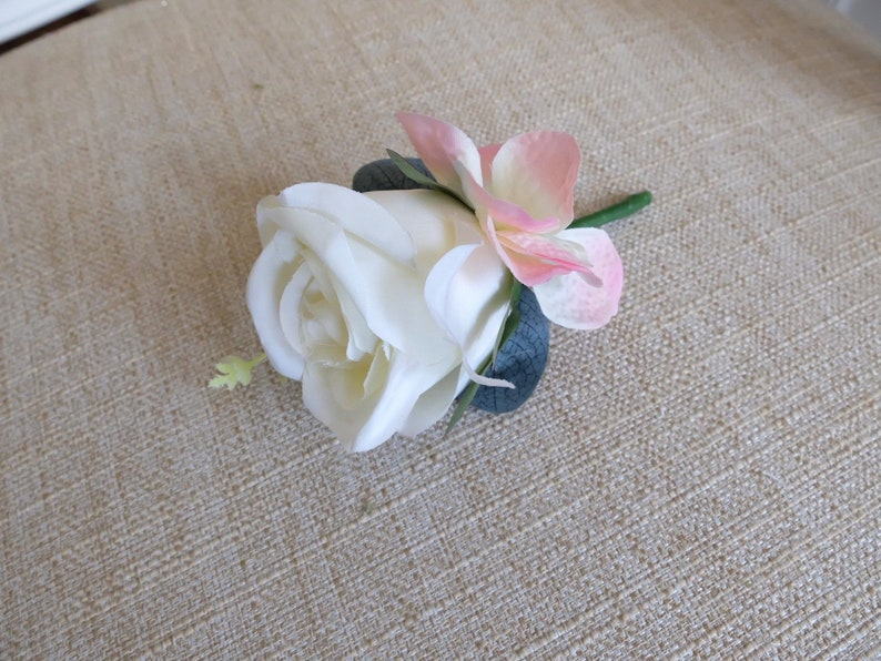 Ivory and pink silk wedding buttonhole / boutonniere.  image 0