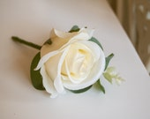 Rose and eucalyptus silk wedding buttonhole / boutonniere.