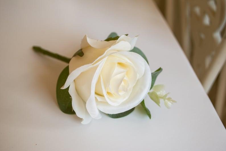 Rose and eucalyptus silk wedding buttonhole / boutonniere. image 0