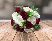 Red and ivory roses silk wedding bouquet. Winter wedding bouquet