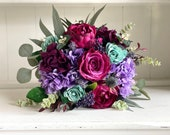 Dark magenta, teal and navy blue silk wedding bouquet