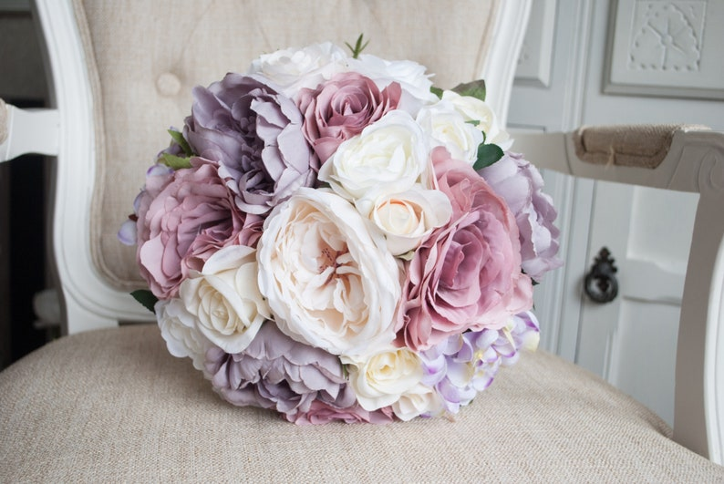 Dusky pink and mauve silk wedding bouquet. Vintage dusty rose image 0
