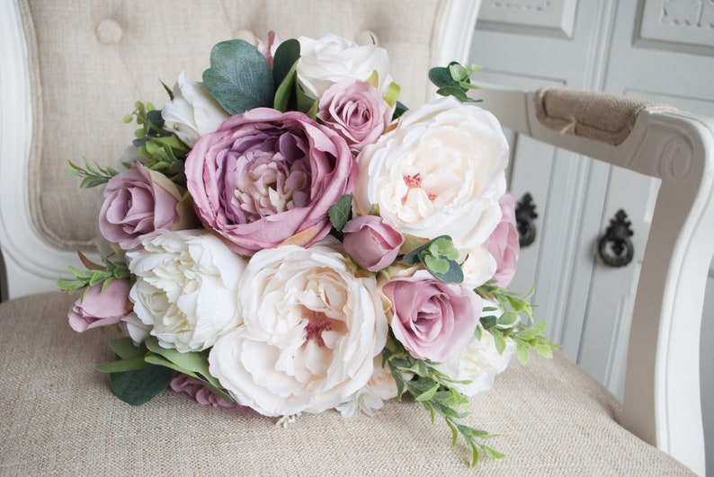 Garden rose and peony silk wedding bouquet. Mauve dusky pink image 0