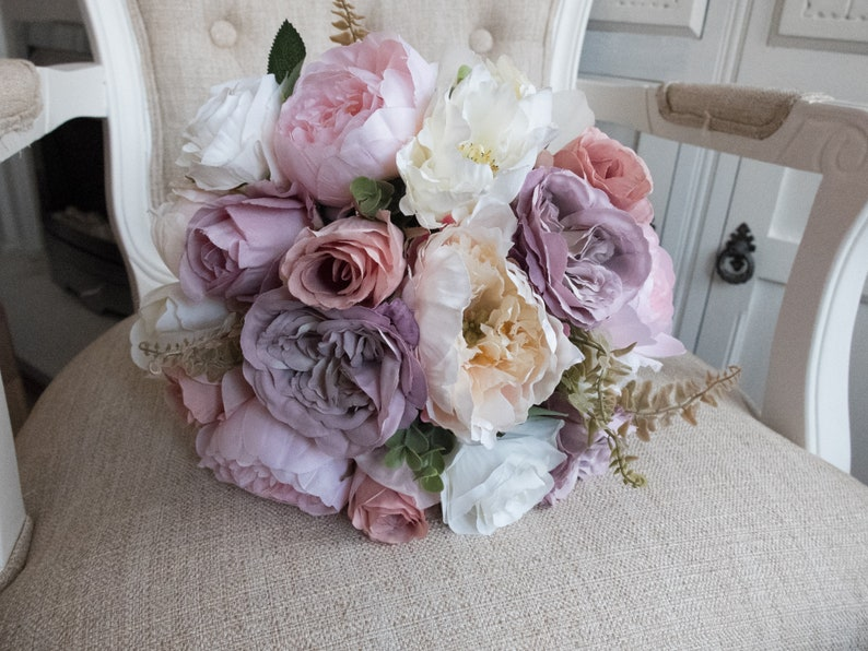 Ivory mauve pale pink and dusky pink silk wedding bouquet. image 0