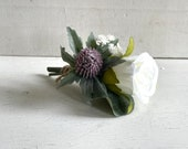 White rose and purple thistle silk wedding buttonhole / boutonniere.