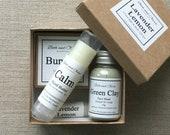 Lavender Lemon Gift Set, bodycare gift set, skincare gift set, lavender lip balm, lavender soap, Bridesmaid gift set, lemon lip balm