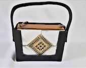 Vintage Mother of Pearl Rhinestone Carryall Purse by Evans