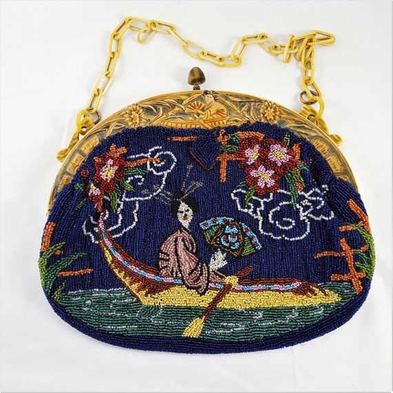 Vintage Unique  Rare Geisha Beaded Purse With Matc