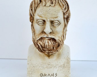 Ancient Greek first philosopher Thales of Miletus sculpture bust artifact