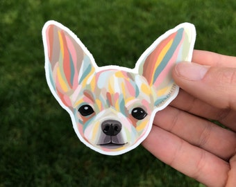 Colorful Abstract Chihuahua Waterproof Vinyl Laptop Sticker